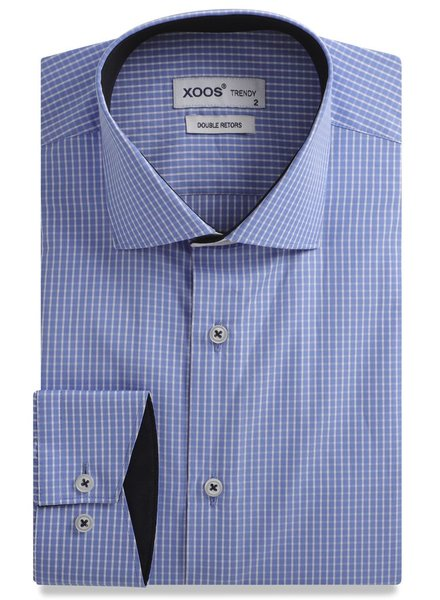 XOOS Checkered blue men's fitted dress shirt white collar stand and navy braid (Double Twisted)