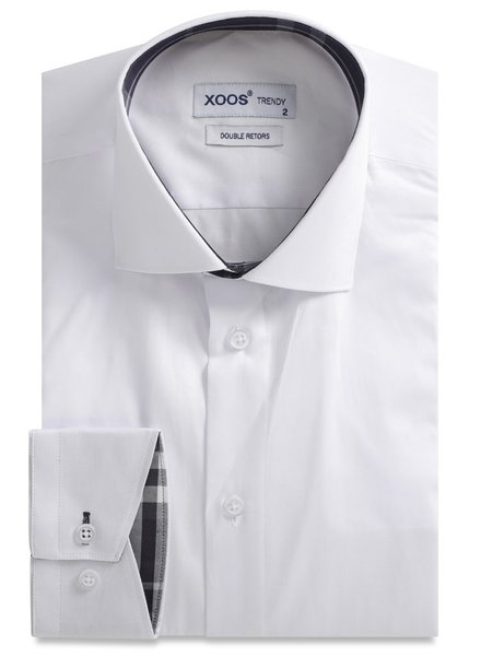 XOOS White men's fitted dress shirt navy tartan lining (Double Twisted)