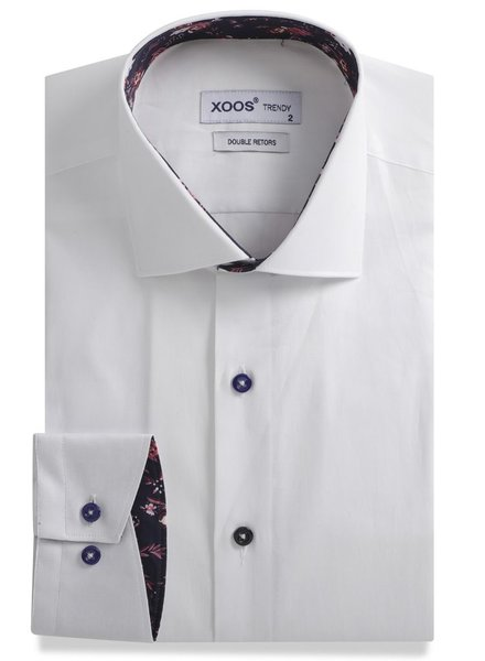 XOOS White men's fitted dress shirt navy lining with flower prints (Double Twisted)