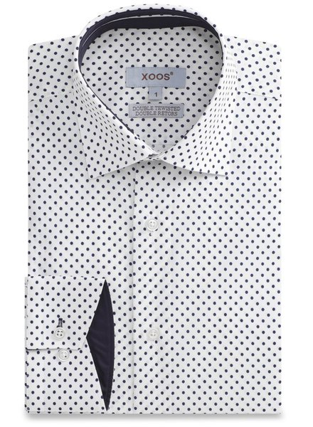 XOOS CLASSIC-FIT white men's dress shirt with navy polka dots and navy lining