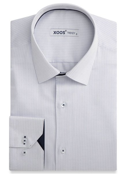 XOOS White fitted dress shirt navy woven patterns