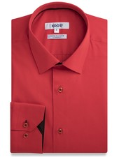 XOOS Chemise homme rouge doublure navy à micro pois