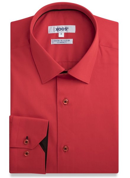 XOOS Red fitted dress shirt black polka dots lining