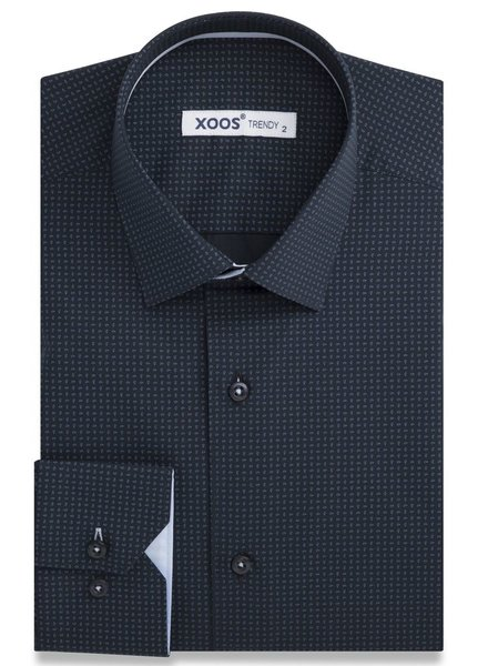 XOOS Navy fitted dress shirt paisley prints