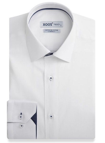 XOOS Chemise homme blanche doublure navy à micro pois