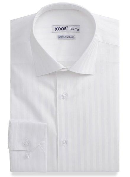 XOOS Chemise homme cintrée blanche à rayures ton sur ton (Double Retors)