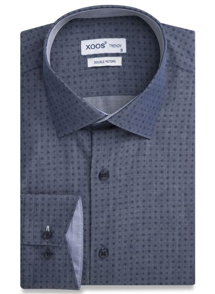XOOS Denim Blue woven patterns men's fitted shirt