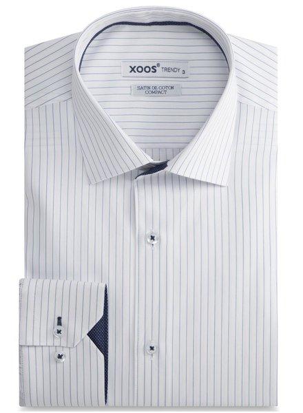 XOOS White dress shirt navy stripes and micro polka dots lining