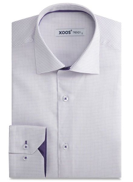 XOOS White dress shirt mauve fine checks and mauve lining