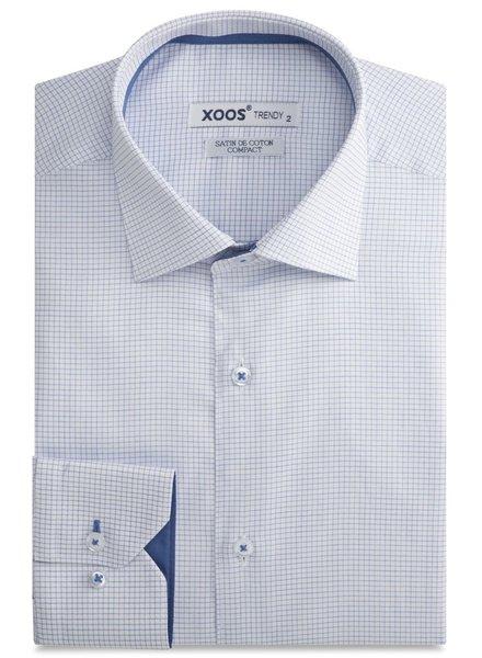 XOOS Chemise homme cintrée blanche à fins carreaux bleus doublure bleue