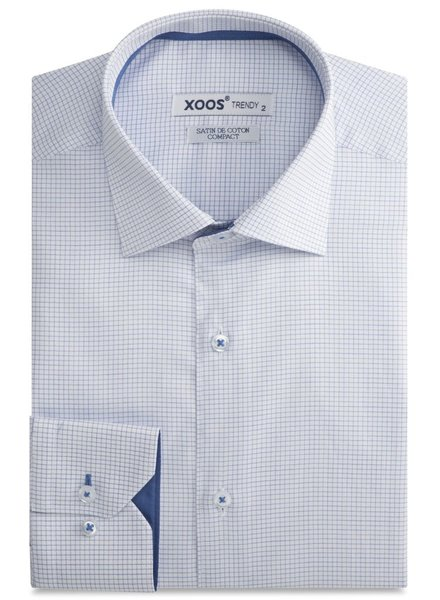 XOOS White dress shirt blue fine checks and blue lining