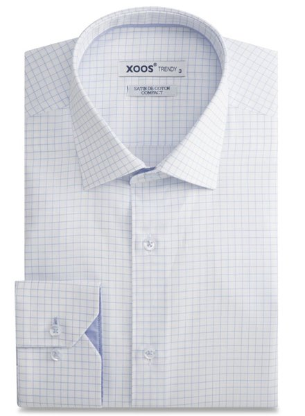 XOOS White dress shirt blue checks and blue chambray lining
