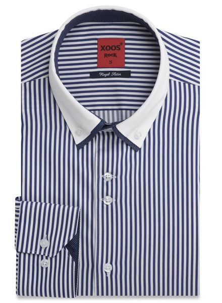 XOOS Blue striped financial shirt double collar