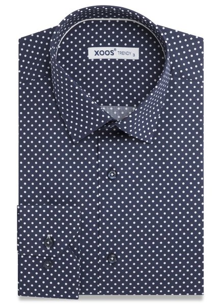 XOOS Navy men's dress shirt with white polka dots and white braid