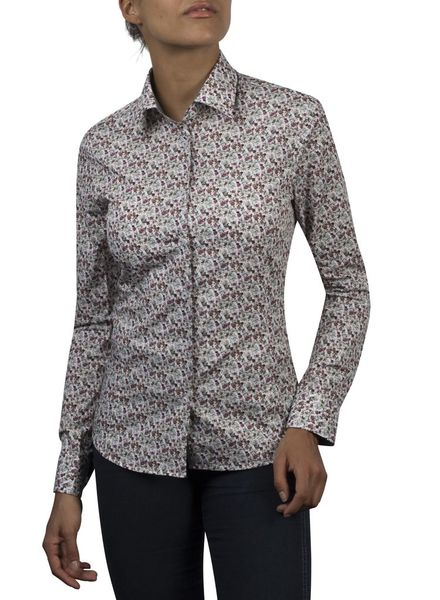 XOOS WOMEN gray and burgundy floral printed shirt gray lining