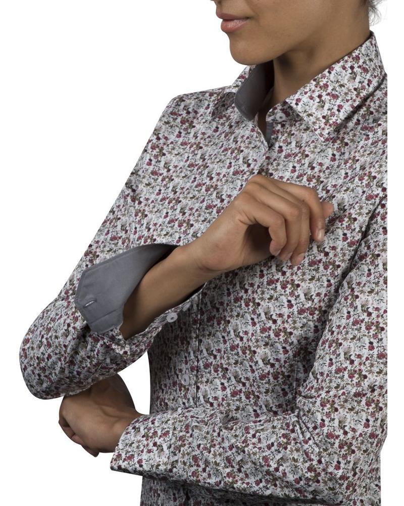 XOOS WOMEN gray and burgundy floral printed shirt gray lining