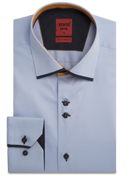 XOOS CLASSIC-FIT Sky blue shirt and Orange edge lining