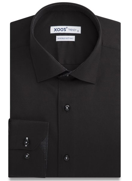 XOOS CLASSIC-FIT Black dress shirt polka dots lining (Double Twisted)