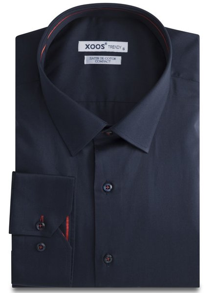 XOOS CLASSIC-FIT Navy men's dress shirt red lining