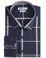 XOOS CLASSIC-FIT navy shirt gray checks and gigham lining