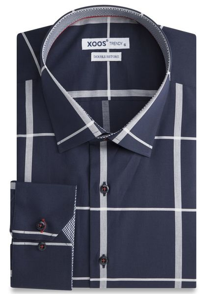 XOOS CLASSIC-FIT navy shirt gray checks and gigham lining