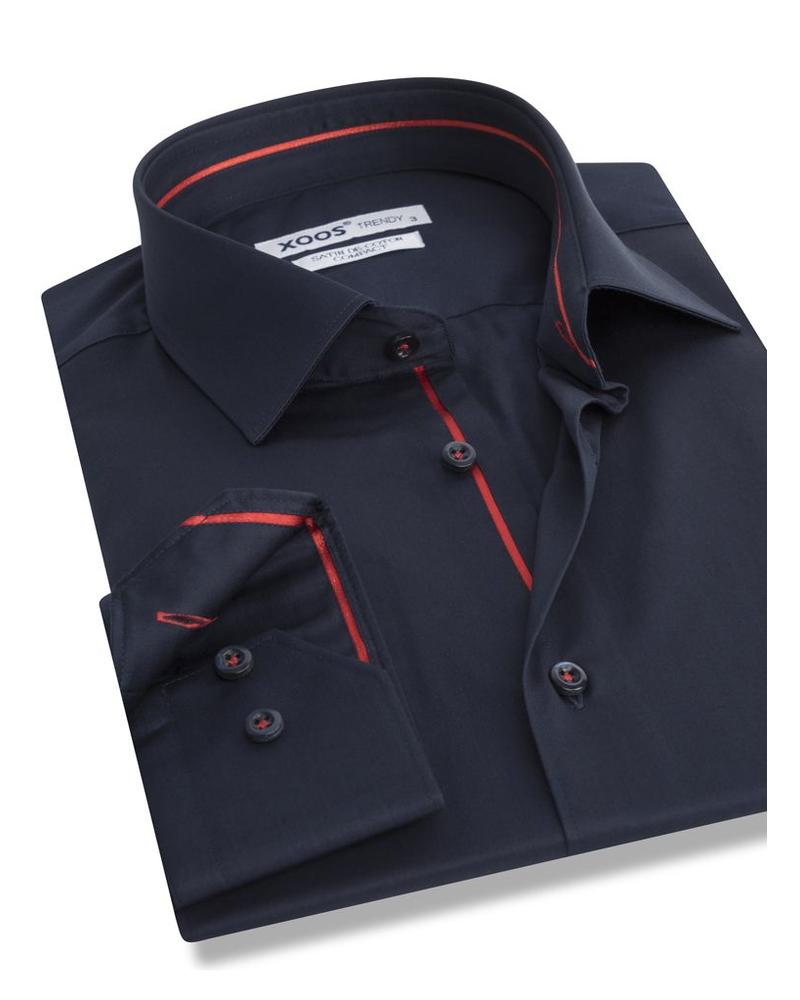 XOOS Navy fitted men's dress shirt red lining