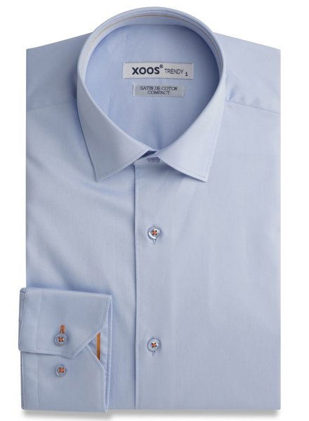 XOOS Light blue men's dress shirt orange lining