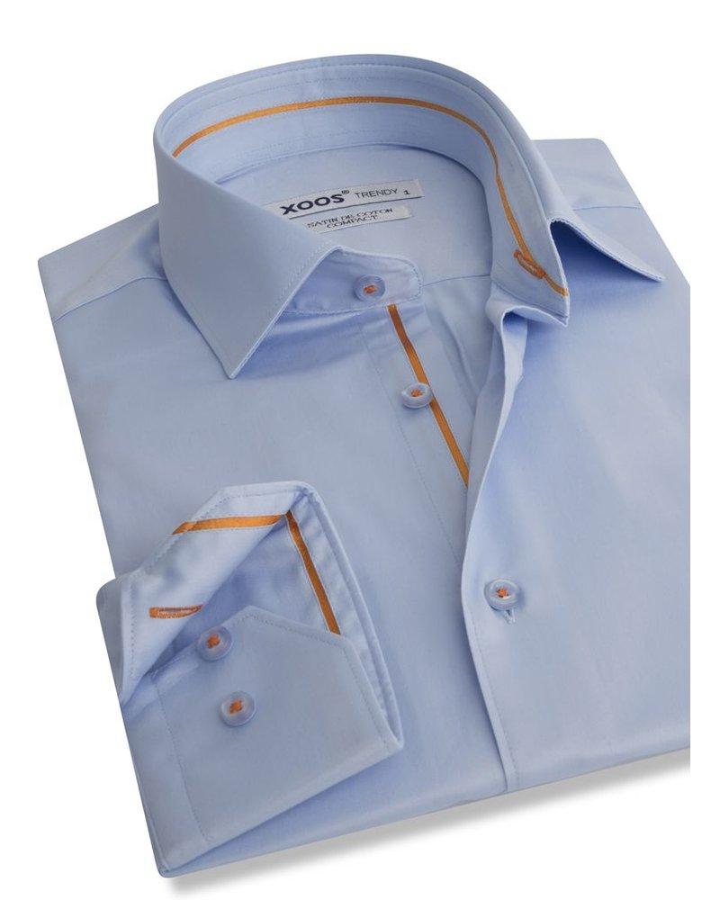 XOOS Light blue men's dress shirt orange lining