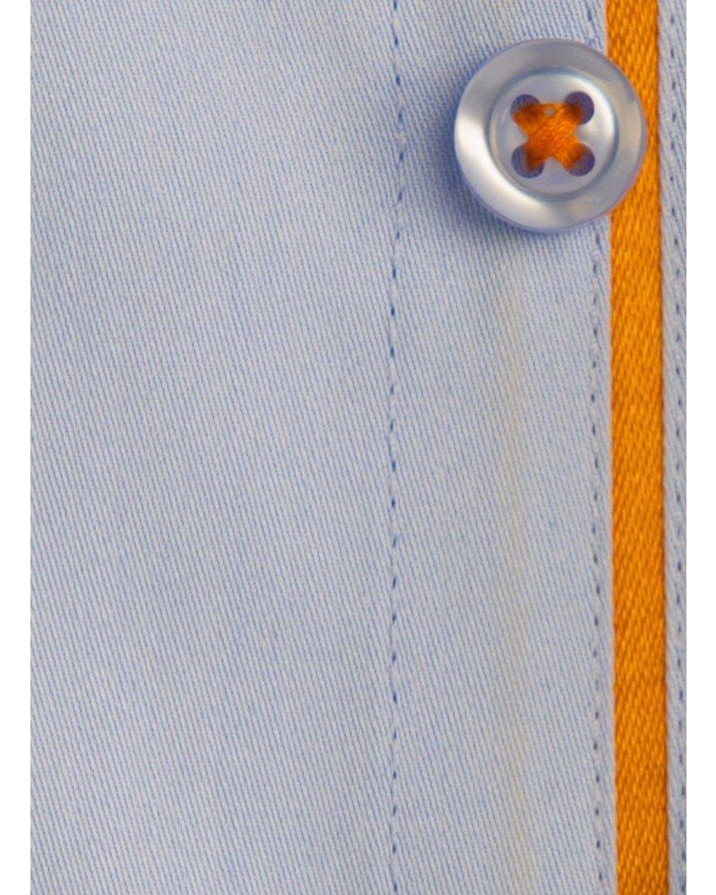 XOOS Chemise homme cintrée bleu ciel à galon orange