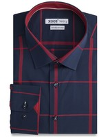 XOOS Navy fitted shirt burgundy checks and micro polka dots lining ( Double Twisted)