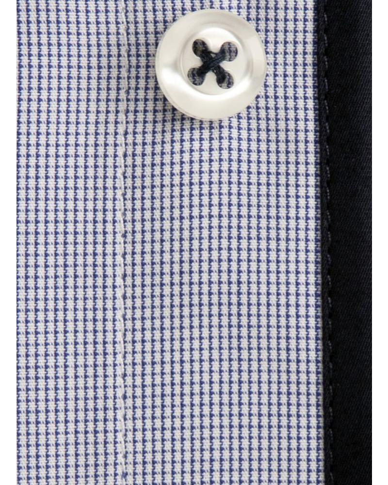 XOOS Chemise homme cintrée à micro carreaux et doublure bleu marine