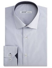 XOOS Fine navy striped men's fitted dress shirt