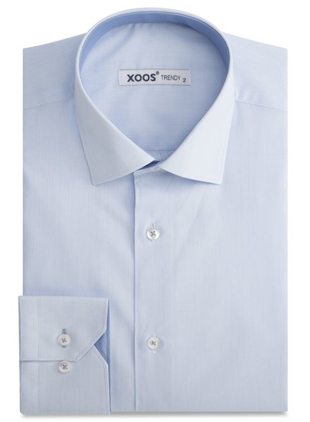 XOOS Fine lightblue striped men's fitted dress shirt