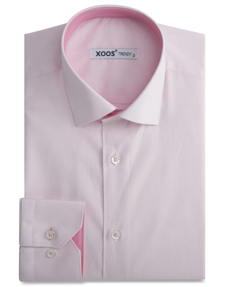 XOOS Fine pink checkered men's fitted dress shirt