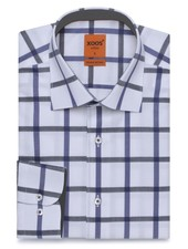 XOOS Men's blue and gray checkered and fitted dess shirt (Double twisted)