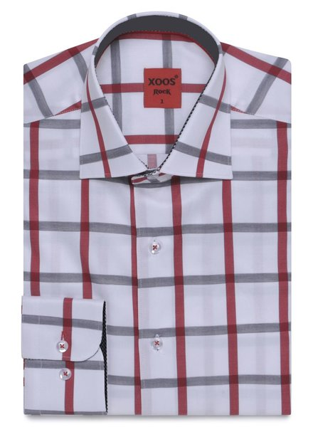 XOOS Men's red and gray checkered and fitted dess shirt (Double twisted)