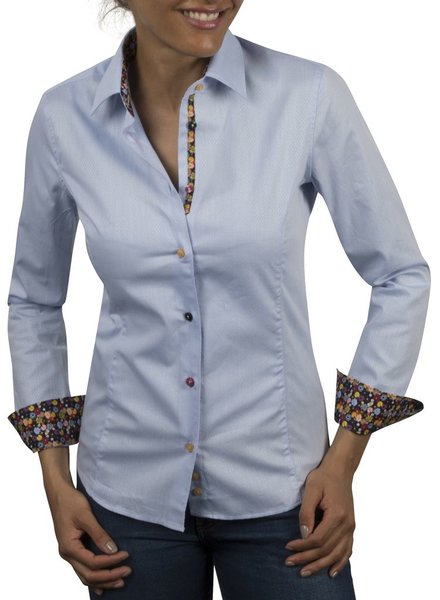 XOOS WOMEN blue jaquard shirt orange floral braid and colored buttons