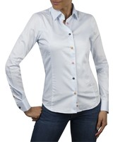 XOOS WOMEN blue diamond shirt orange floral lining and colored buttons