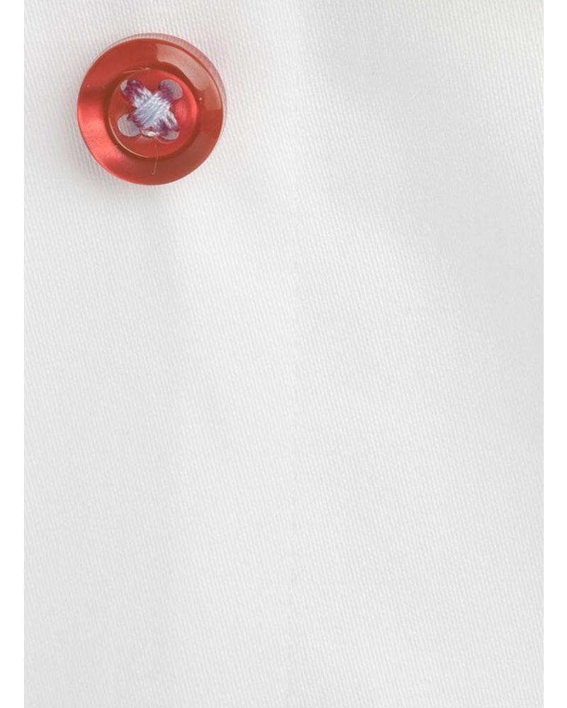 XOOS Chemisier femme blanc galon à fleurs et boutons colorés