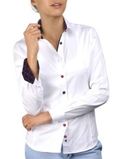 XOOS WOMEN white shirt navy cherry blossoms braid and colored buttons