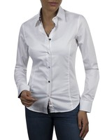XOOS WOMEN white shirt navy black and floral braid and colored buttons