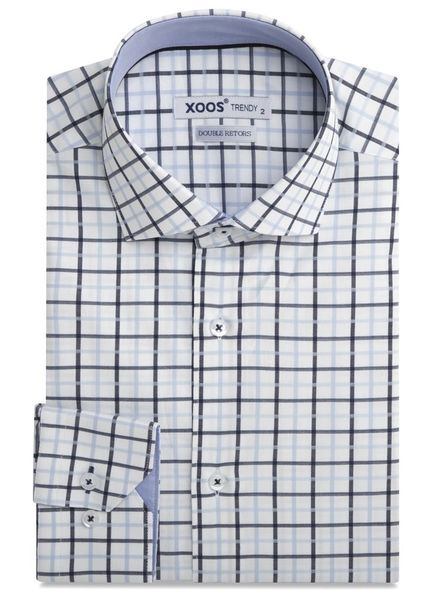 XOOS Men's blue and navy checkered and fitted dess shirt (Double twisted)