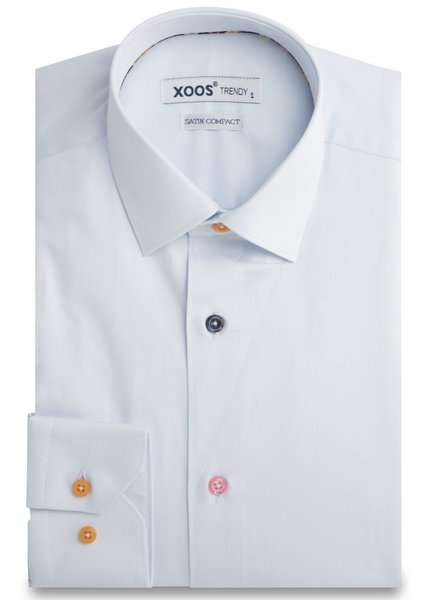 XOOS Men's lightblue fitted dress shirt floral braid and matching buttons