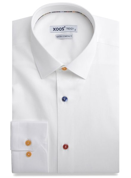 XOOS Men's white fitted dress shirt floral braid and matching buttons