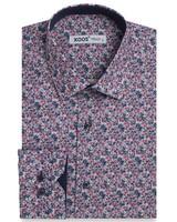 XOOS Men's pink and navy floral print dress shirt navy lining