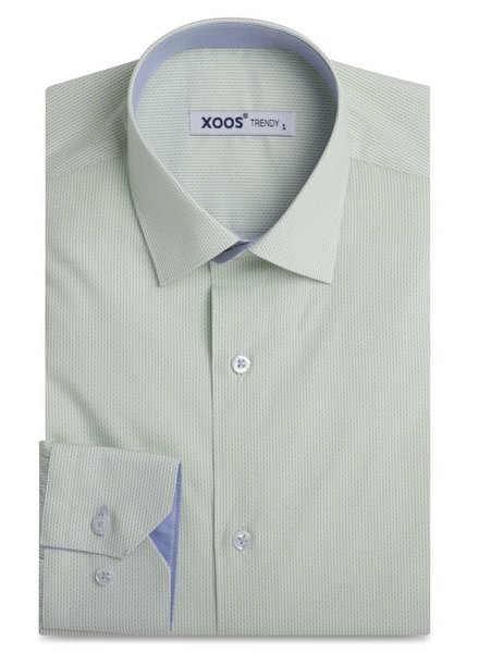 XOOS Men's light green patterned shirt and blue chambray lining