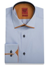 XOOS Men's blue dress shirt and orange Edge Collar