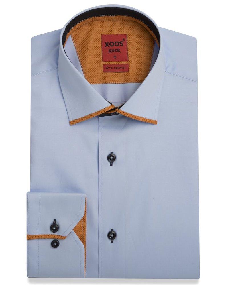 XOOS Men's blue dress shirt and orange Edge Collar