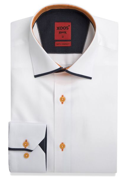 XOOS Men's white dress shirt and orange Edge Collar