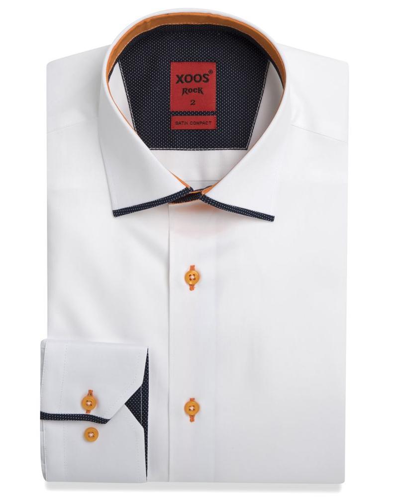 XOOS Men's white dress shirt and orange Edge Collar
